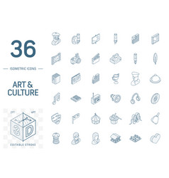 culture and art isometric line icons 3d vector image
