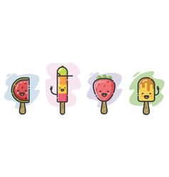 Cute ice-cream cartoon characters vector