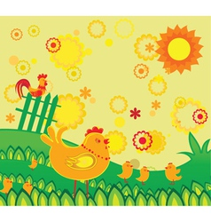 Easter background with chickens vector