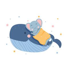 Elephant sleeps on whale vector