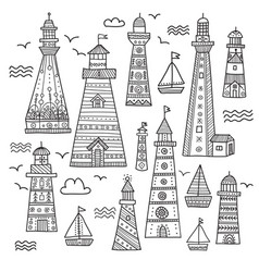 ethnic style lighthouses with ornaments set vector image