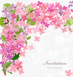 Floral invitation card with blossom lilac With vector image