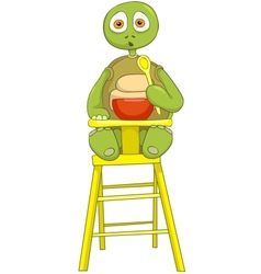 Funny Turtle Baby Eating vector