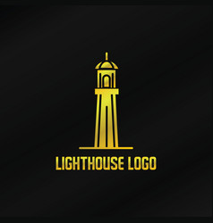 gold lighthouse logo template vector image