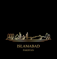gold silhouette of islamabad on black background vector image