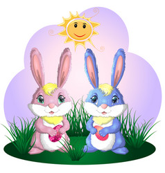 happy easter easter bunnies and egg in field wide vector image