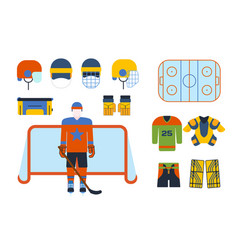 hockey uniform and accessory in flat style vector image