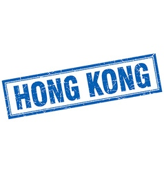 Hong Kong blue square grunge stamp on white vector