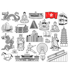 Hong kong religion and culture symbols landmarks vector