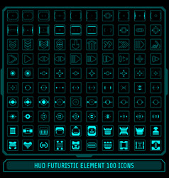 Hud fututistic collection icons element set green vector
