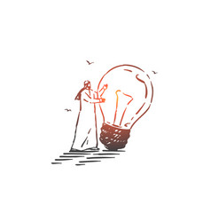 idea generation brainstorm concept sketch hand vector image