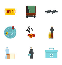 illegal immigrants icons set flat style vector image