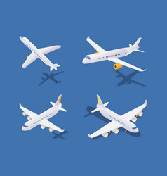 isometric passenger airplanes during take-off vector image