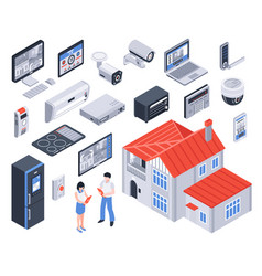 Isometric smart home icon set vector