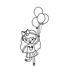 Line girl child with curly hair and balloons vector