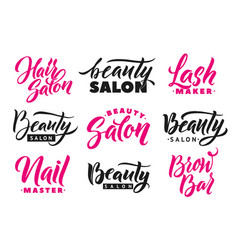 Logo beauty salon lettering set custom handmade vector