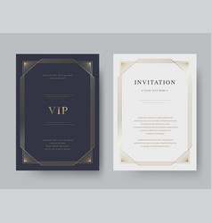 Luxury vintage golden invitation card template vector