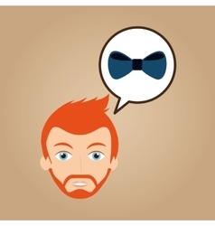 Man hipster bearded wearing bow tie vector