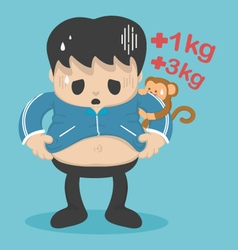 Man with a big belly frustrated weight gain vector