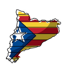 map of catalonia and flag patriotism independence vector image