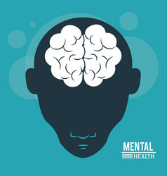 Mental health head human silhouette face and vector
