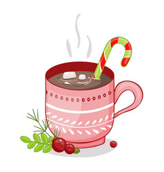 merry christmas cup on a white background vector image