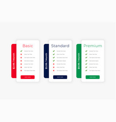 Modern clean website price table business template vector