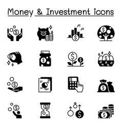 money investment icons set graphic design vector image