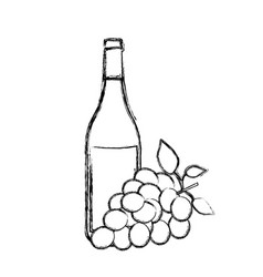 monochrome sketch silhouette with bottle of wine vector image