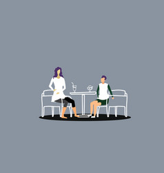 mother with son sitting at cafe table woman vector image