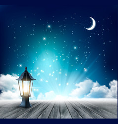 Night sky background with crescent moon and vector