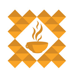 Orange cup of hot coffee tea in a pattern on a vector