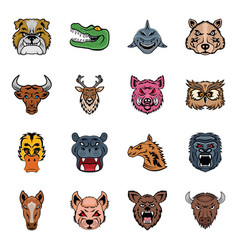 Pack of animals flat icons vector