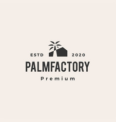 palm tree factory hipster vintage logo icon vector image