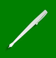 Pen sign paper whitish icon vector