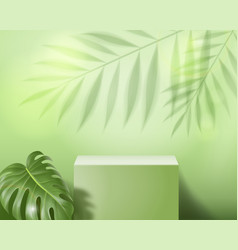 Podium abstract minimal scene on green background vector
