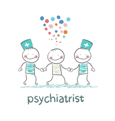Psychiatrists go to the patient which is crazy vector image