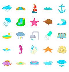 Reservoir icons set cartoon style vector