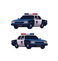 Retro police cars set isometric view police vector