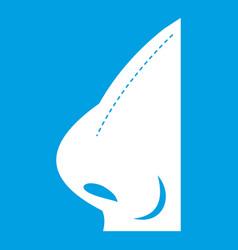 Rhinoplasty of nose icon white vector