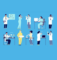 scientists characters people in white lab coat vector image