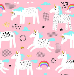 Seamless pattern with magic unicorns and rainbow vector
