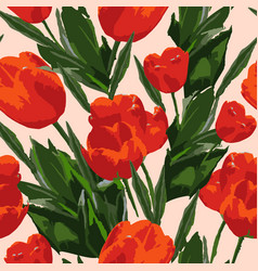 seamless watercolor colored pattern with tulips vector image