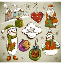Set of Hand-drawn Christmas Design Elements vector image