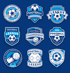set of nine football badges soccer emblems vector image