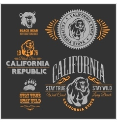 Set of stylish retro badges with bears vector image