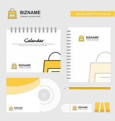 shopping bag logo calendar template cd cover vector image