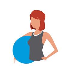 Sport girl fitness fitball gym vector