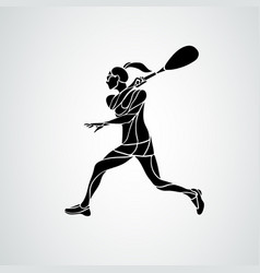 Squash player female creative abstract silhouette vector