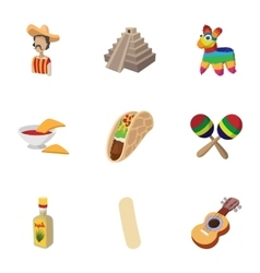 Tourism in Mexico icons set cartoon style vector